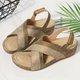 Wedge Heel Color Block Artificial Leather Sandals