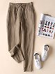 Casual Pockets Plain All Season Drawstring Plus Size Pants