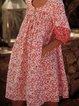 Red Half Sleeve Printed Cotton Boho Dresses