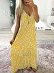 Sleeveless Printed V Neck Holiday Dresses
