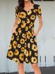 Casual Plus Size Floral Printed V Neck Short Sleeve Dresses