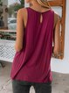 Wine Red Solid Sexy Shift Sleeveless Shirts & Tops