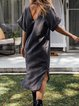 Short Sleeve Linen Plain Casual Dresses
