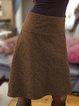 Plain Casual Cotton-Blend Skirts