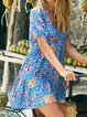 Women Floral Caftan V-Neck Summer Dresses