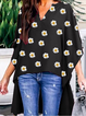 Sunflower Print Batwing Plants Shirts & Tops