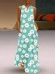 Floral Sleeveless Maxi Dress Women Summer Pockets Dresses