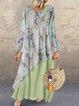Women Maxi Dress Long Sleeve Crew Neck Dresses