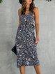 Black Boho V Neck Sheath Polka Dots Dress