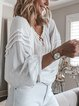 White Long Sleeve Casual Blouses
