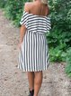 Scoop Neckline Shift Short Sleeve Printed Dresses