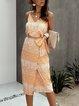 Yellow Sheath Sleeveless Tribal Dress