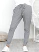 Gray Striped  Casual Pockets Lace up Pockets