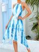 Bohemian Strap-print Fringed Irregular Dress