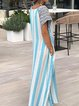 Casual Striped Short Sleeve Pockets Maxi Dress