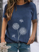 Crew Neck Printed Floral Short Sleeve T-Shirts & Tops