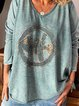 Blue Cotton Embroidery Casual Sweetheart Shirts & Tops