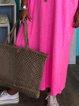 Pink V Neck Short Sleeve Tribal Dresses