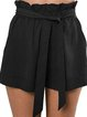 Casual Plain Ruffled Lace-up Pockets Short Pants