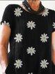 Black Short Sleeve Printed Round Neck Dresses