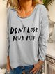 Short Sleeve Casual Round Neck Letter Shirts & Tops