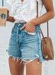Light Blue Denim Holiday Plain Shorts