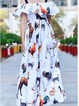 White Sleeveless Casual Floral-Print Dresses