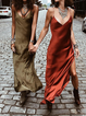 Spaghetti Sleeveless Slit Dresses