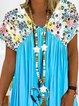 Short Sleeve Printed V Neck Dresses