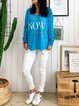 Blue Casual Crew Neck Long Sleeve Letters Printed T-Shirts