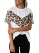 Short Sleeve Casual Leopard Crew Neck T-Shirts