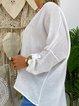 White Casual Plain V Neck T-Shirts