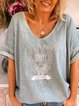 Summer loose European and American short-sleeved casual printed T-shirt