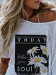 White Scoop Neckline Floral Holiday Shirts & Tops