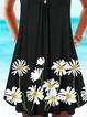 Black A-Line Boho Floral-Print Dresses