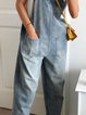 Vintage Sleeveless Casual Plain Plus Size Casual Denim Jumpsuits
