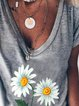 Gray V Neck Printed Short Sleeve Tops