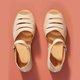 Beige Low Heel Leather Date Sandals