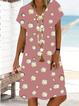 Daisy Printed Casual Short Sleeve Midi Dress