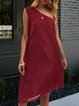 Wine Red Satin Solid Shift Sexy Dresses
