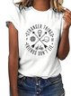 Round Neck Cotton-Blend Casual Short Sleeve Shirts & Tops