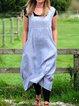 Blue Linen Plain Spaghetti-Strap Pockets Dresses