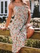 Floral Printed Casual Sleeveless Spaghetti Midi Dress