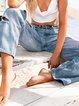 Blue Denim Casual Ripped Pockets Pants
