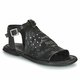 Black Flat Heel Leather Sandals