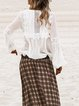 White Cutout Patchwork V Neck Elegant Shirts & Tops