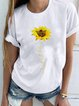 Casual Round Neck Printed Short Sleeve Shirts & Tops