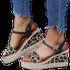 Summer Buckle Leopard Wedges Sandals