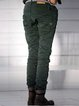 Deep Green Casual Buttoned Patchwork Cotton Pants