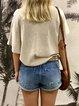 Beige Short Sleeve V Neck Printed T-Shirts